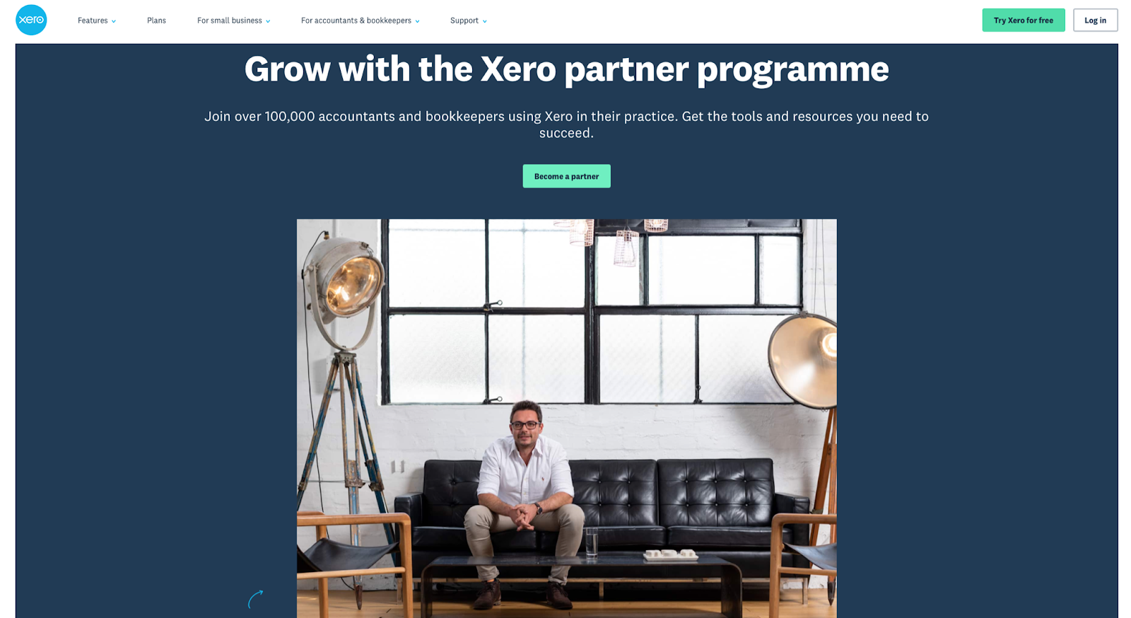 website homepage for Xero cloud-based accounting software company