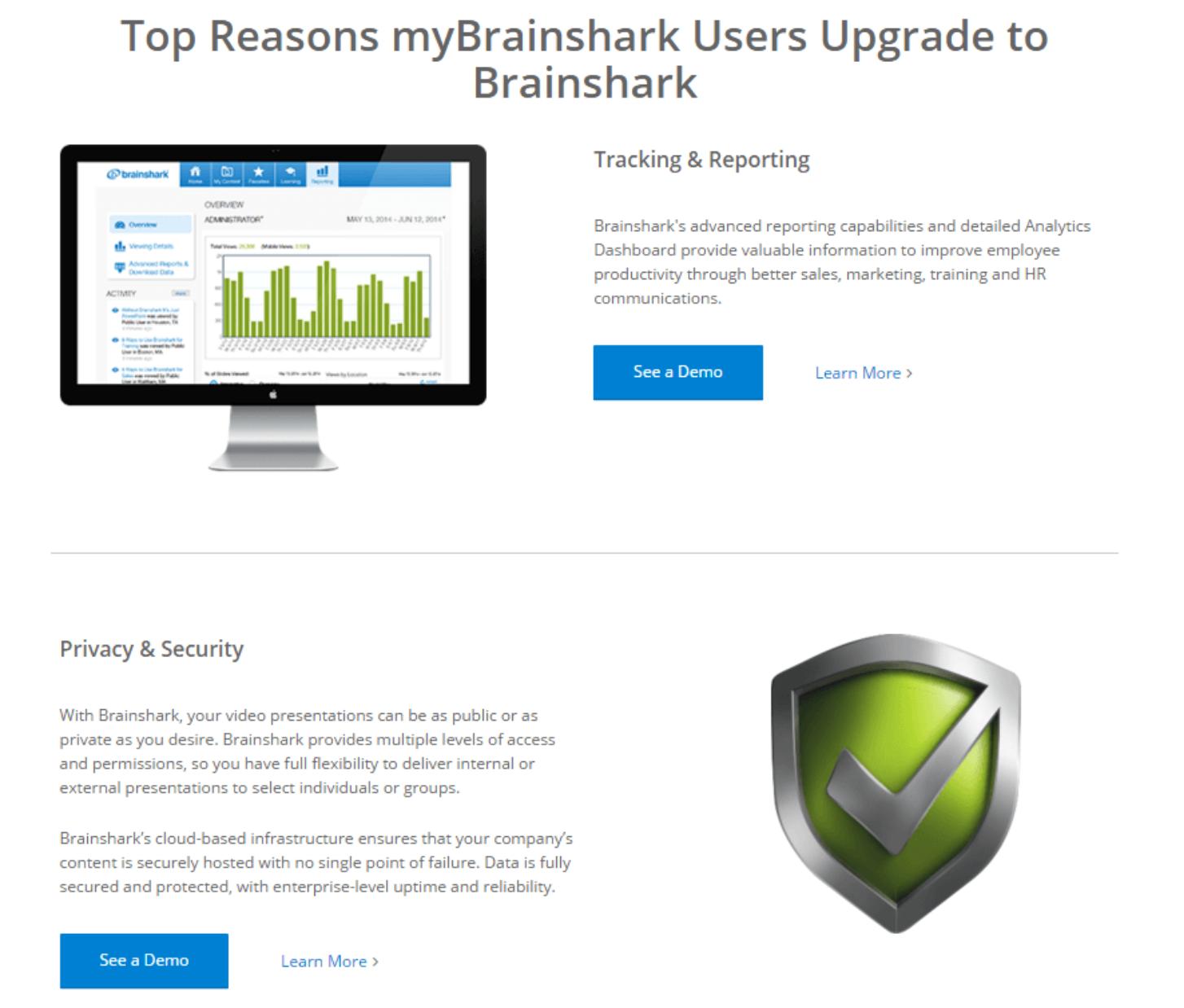 Brainshark product demo landing page