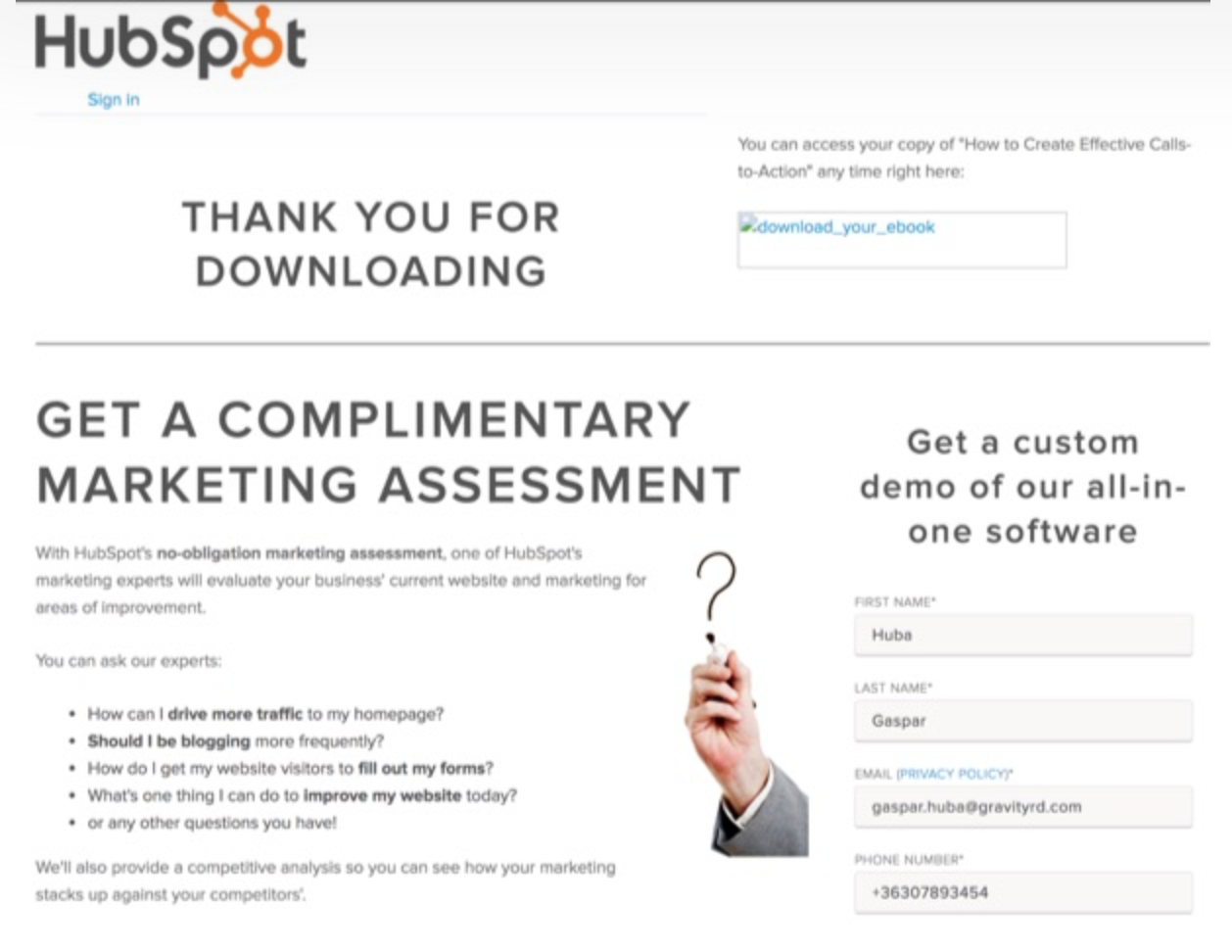 HubSpot thank you for downloading page