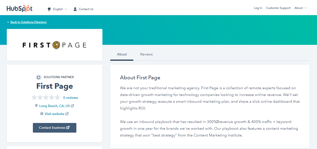 First Page partner profile on HubSpot