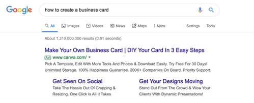 google search results for how to create a business card