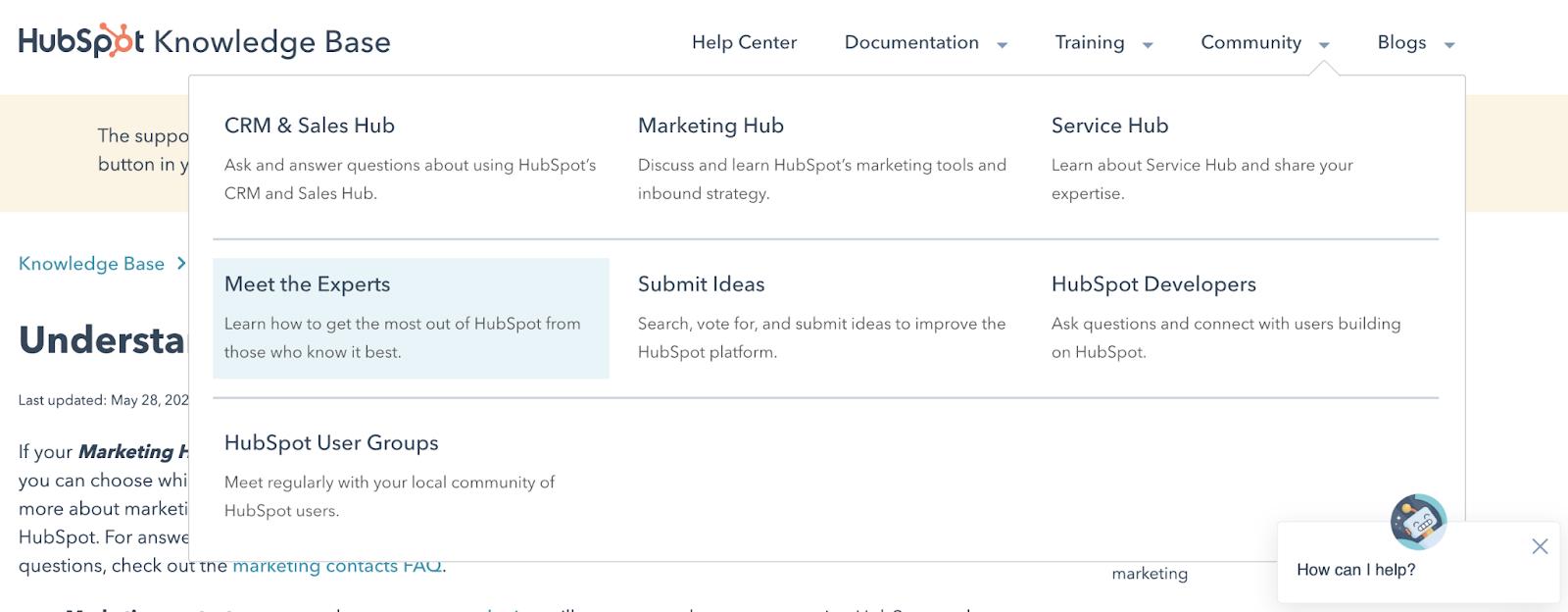 HubSpot knowledge base dashboard view