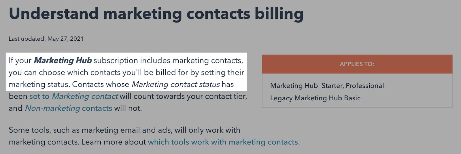 HubSpot marketing contacts subscription model