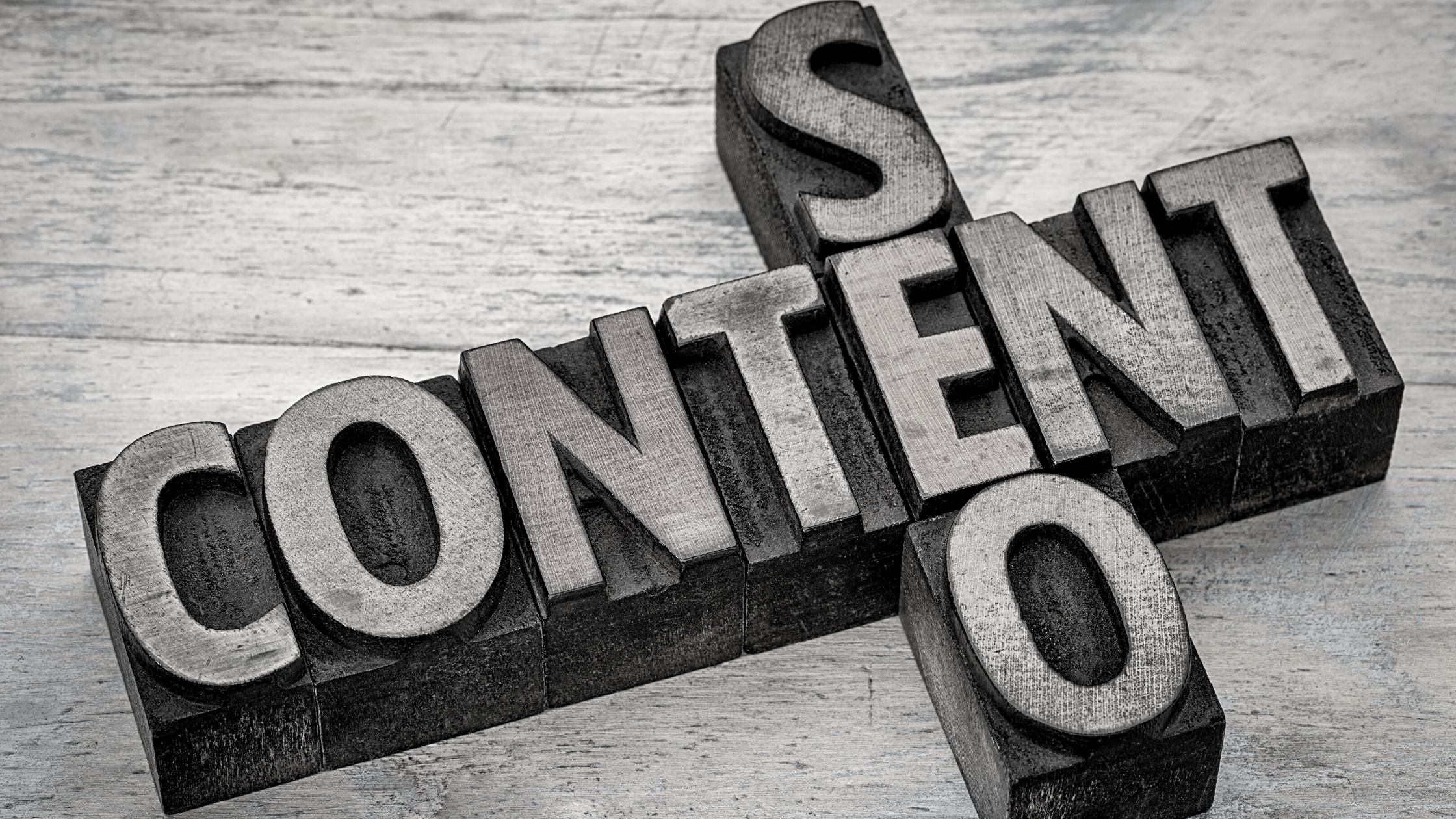 wooden block words that say content and seo intersect