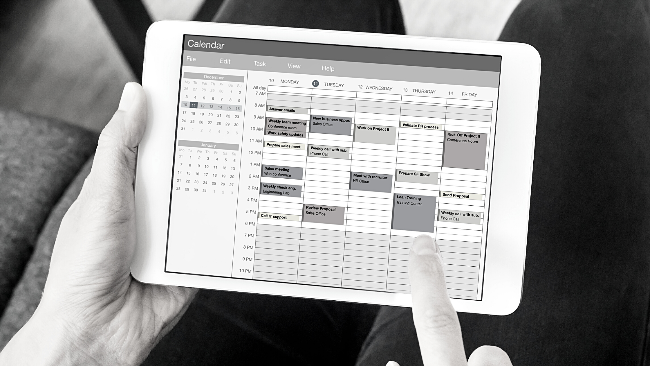 tablet with calendar view