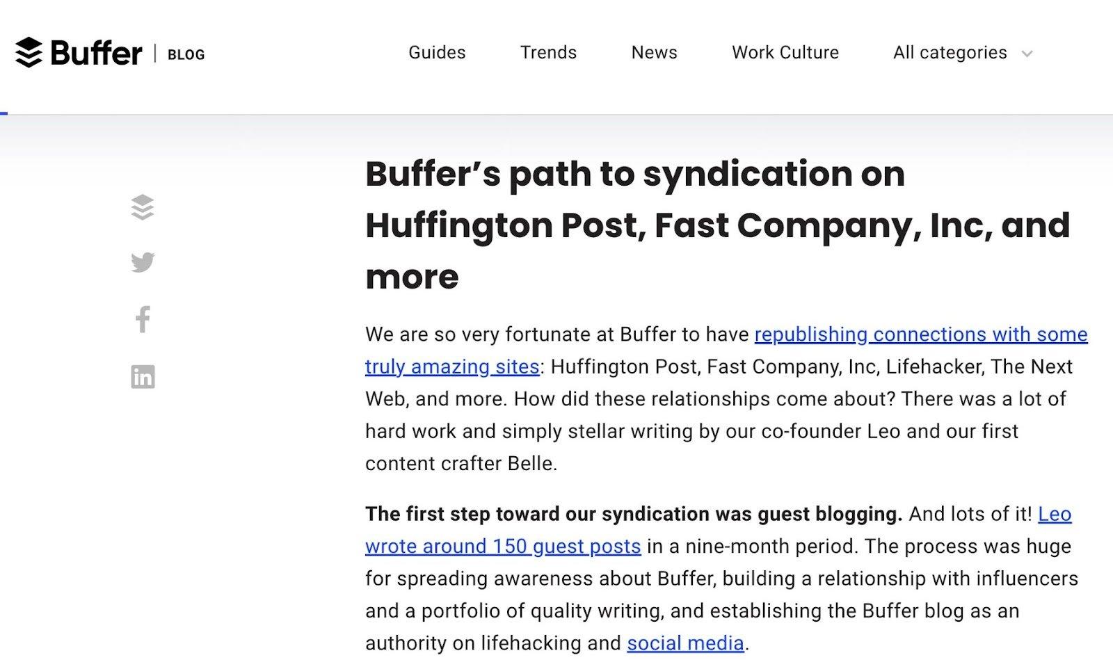 Buffer blogging example