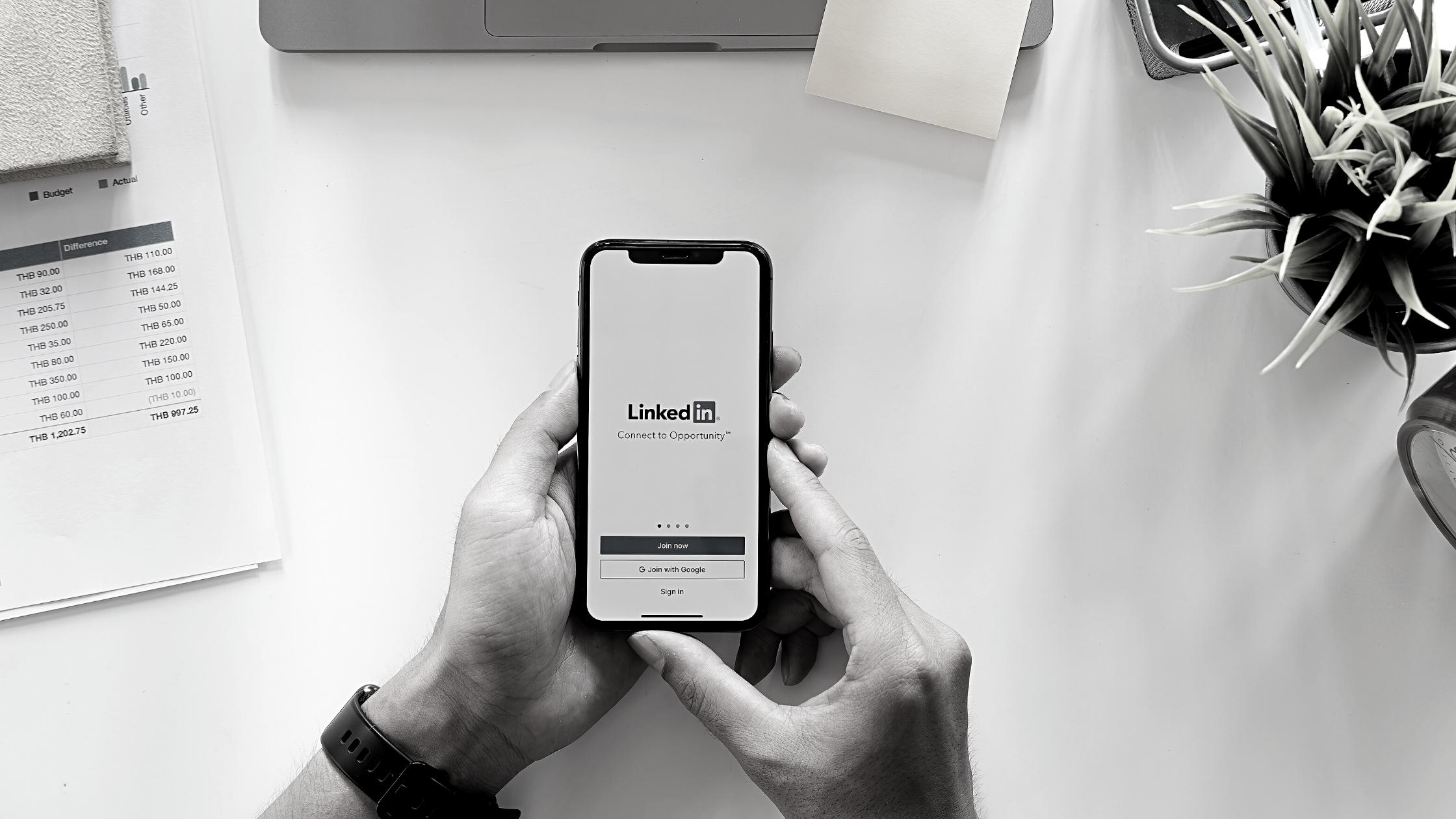 phone screen with linkedin login