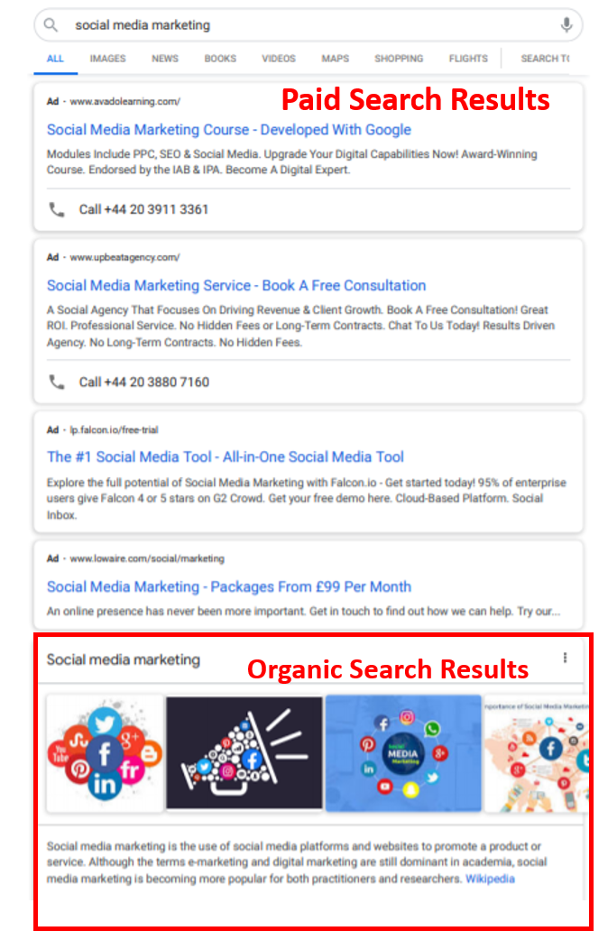 Google search results page showing the difference between paid and organic search results