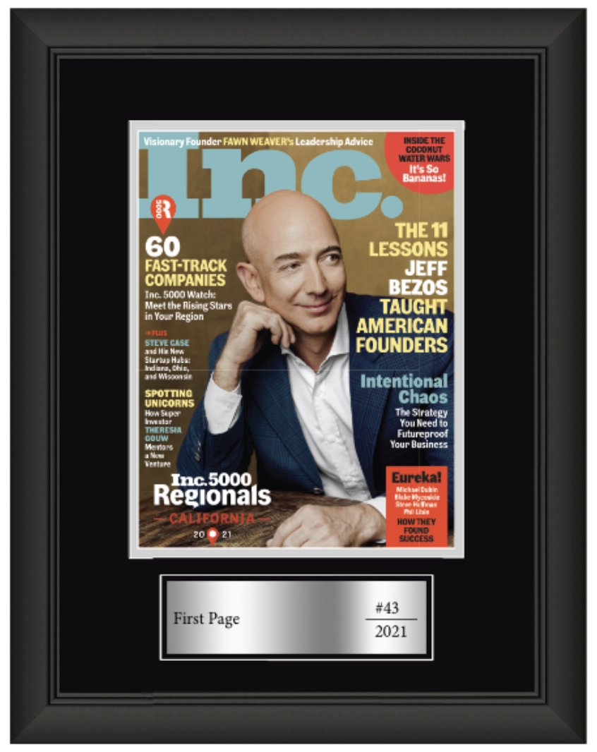 First Page ranks 43rd on Inc. magazine's list of 5,000 of California's fastest growing private companies
