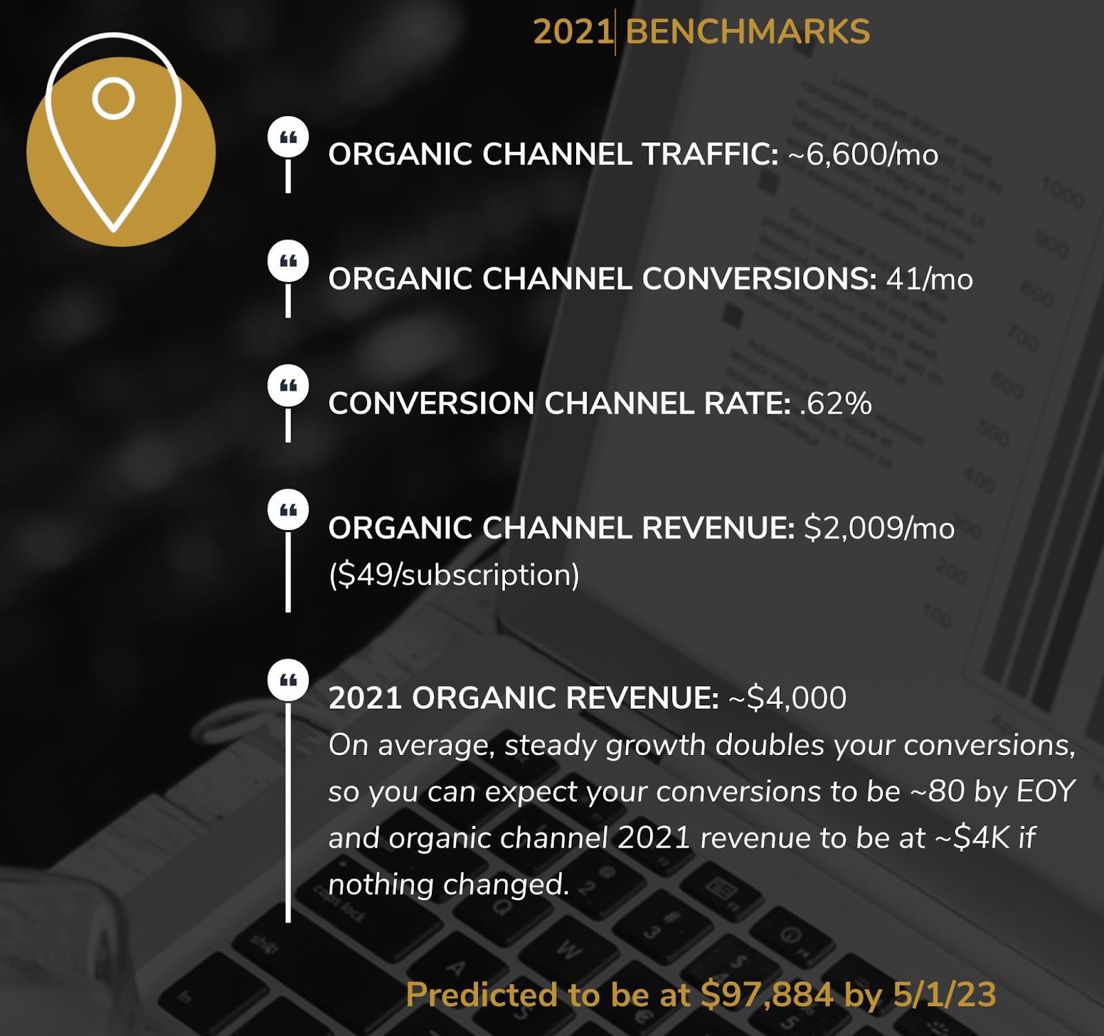 2021 breakdown of organic traffic, revenue, and conversions