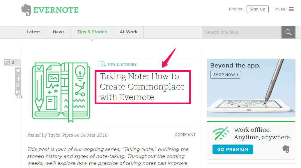 Evernote post showing blog topics to answer customer questions