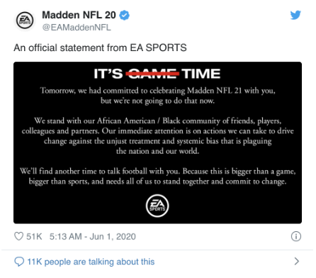 Twitter post from EA Sports