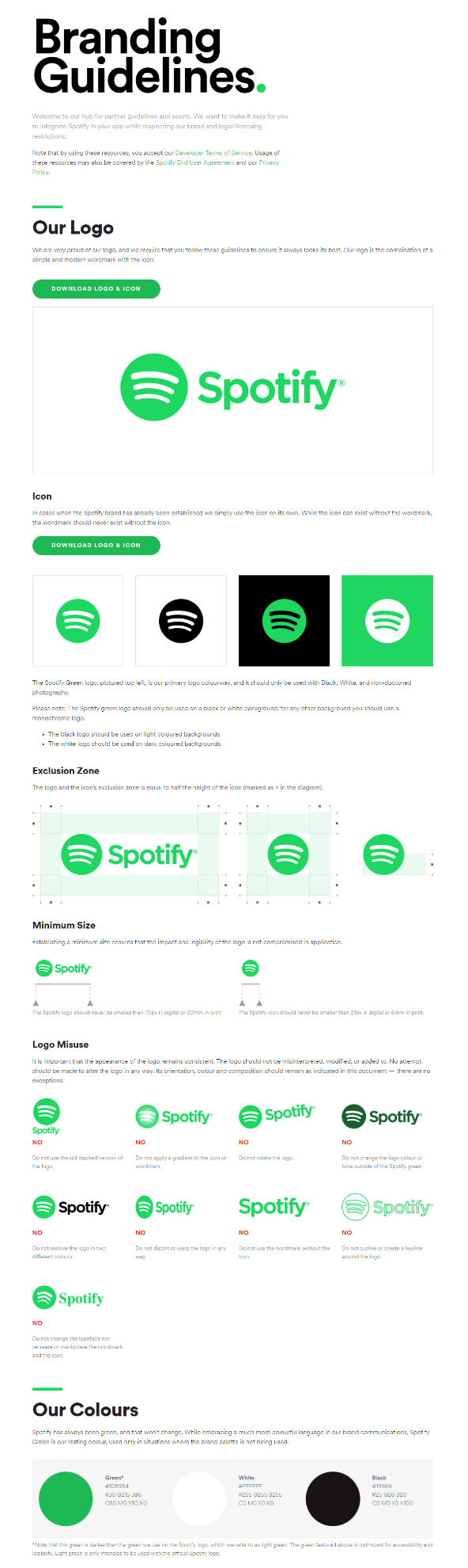 Infographic showing Spotify's branding guidelines including logo sizes and brand colors