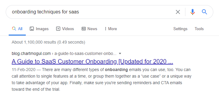 Google search keyword for SaaS onboarding techniques
