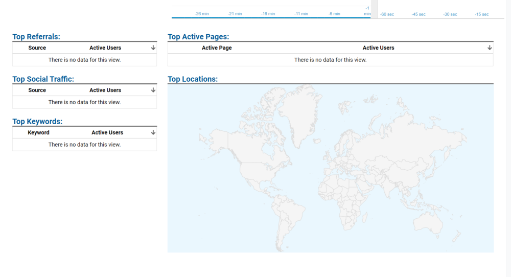 Google analytics page showing the world map and search categories