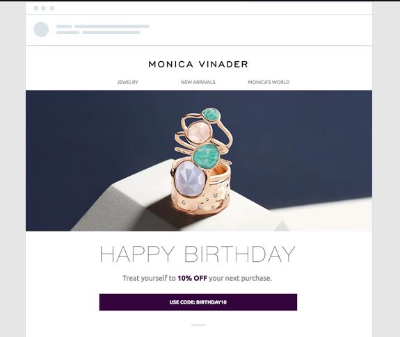automated email marketing showing jewelry with a happy birthday greeting and discount