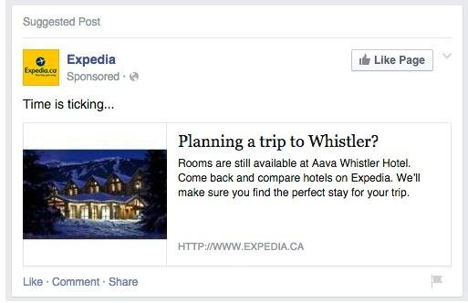 retargeting ad from Expedia advertising a trip to Whistler