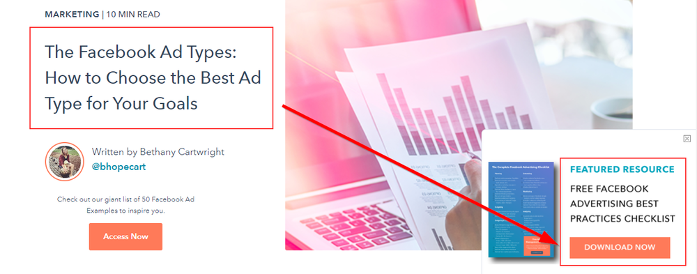 HubSpot call-to-action banner for Facebook
