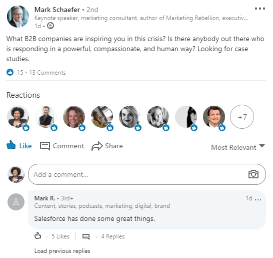 Linkedin post from Mark Schaefer asking about B2B companies