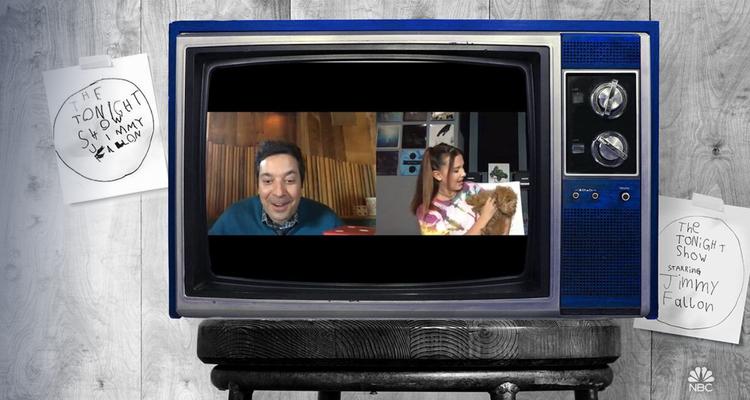 TV showing Jimmy Fallon virtual show