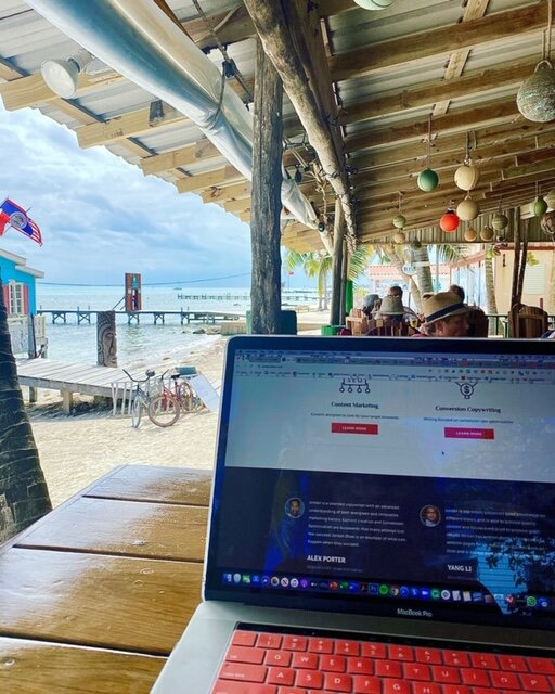 Working remote on Ambergris Caye, Belize