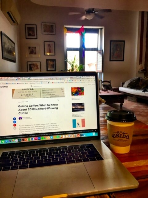 Working remote at an Airbnb in Panama City, drinking their famous Geisha coffee